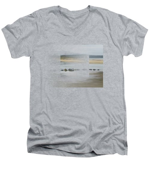 Men's V-Neck T-Shirt featuring the painting Foggy Day by Ivana