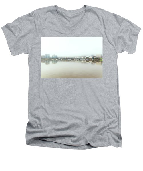 Foggy Day On Portland Downtown Waterfront Men's V-Neck T-Shirt
