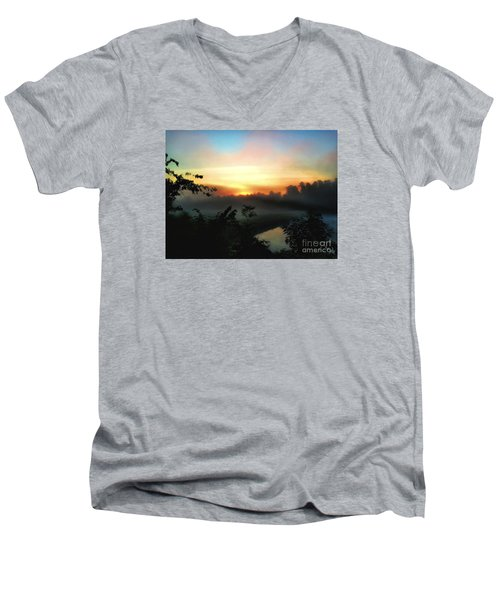 Foggy Edges Sunrise Men's V-Neck T-Shirt by Craig Walters