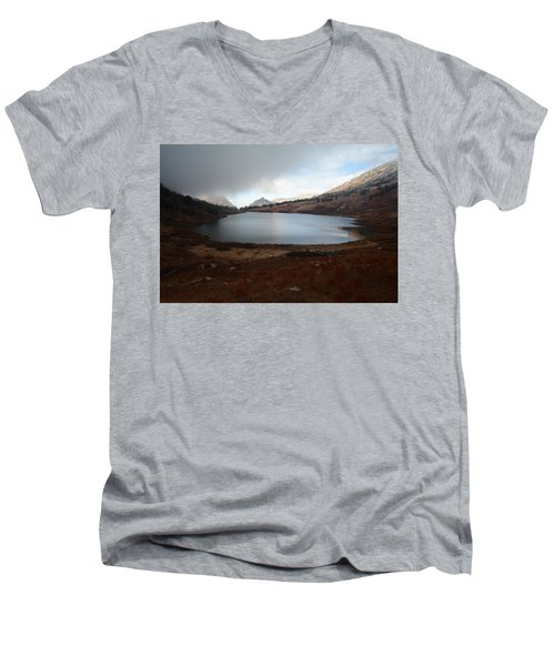 Men's V-Neck T-Shirt featuring the photograph Foggy Favre Lake by Jenessa Rahn