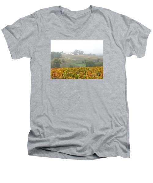 Foggy French Vineyard Men's V-Neck T-Shirt