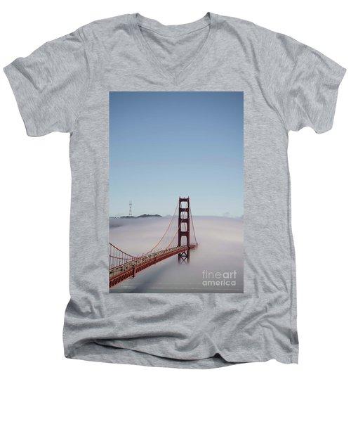 Men's V-Neck T-Shirt featuring the photograph Foggy Golden Gate by David Bearden