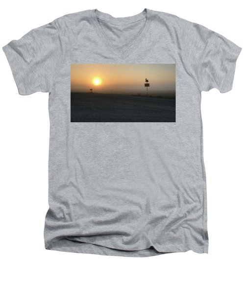 Men's V-Neck T-Shirt featuring the photograph Foggy Hawkeye Sunrise  by Jame Hayes