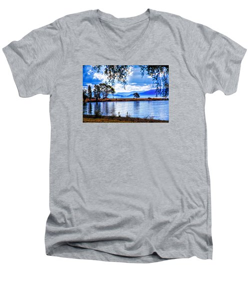 Men's V-Neck T-Shirt featuring the photograph Foggy Hills And Lakes by Rick Bragan