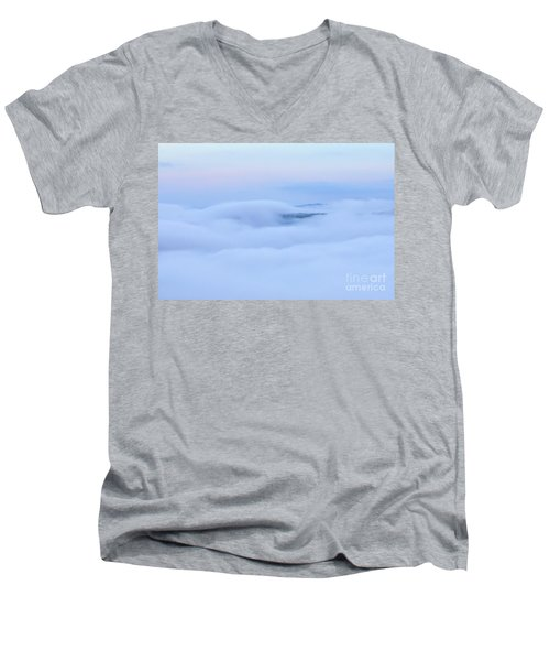 Men's V-Neck T-Shirt featuring the photograph Foggy Layers by Kerri Farley