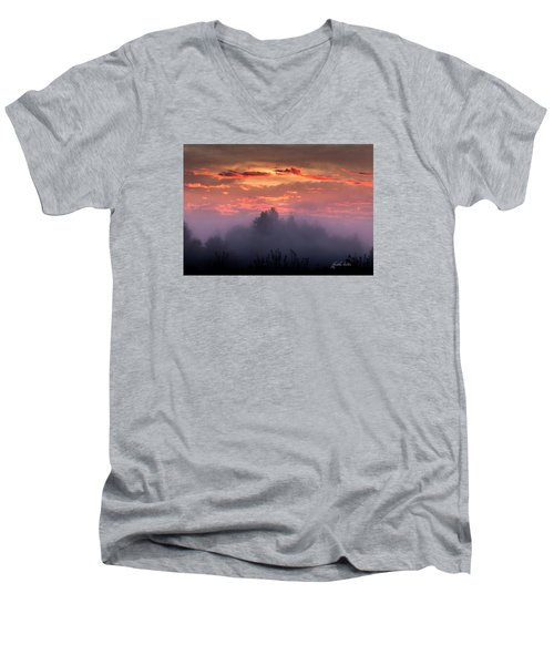 Foggy Mist At Dawn Men's V-Neck T-Shirt by E Faithe Lester