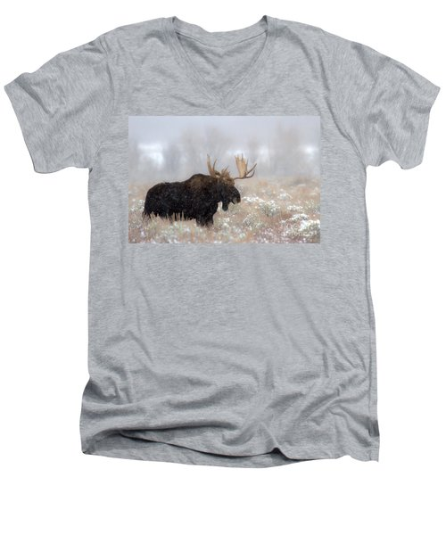Men's V-Neck T-Shirt featuring the photograph Foggy Moose Silhouette by Adam Jewell