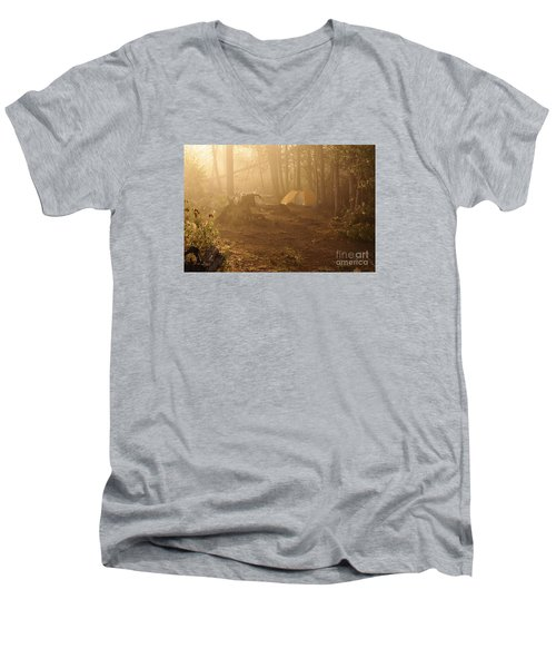 Men's V-Neck T-Shirt featuring the photograph Foggy Morning At The Campsite by Larry Ricker