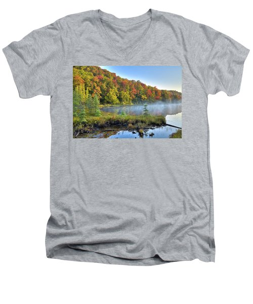 Men's V-Neck T-Shirt featuring the photograph Foggy Morning On The Pond by David Patterson