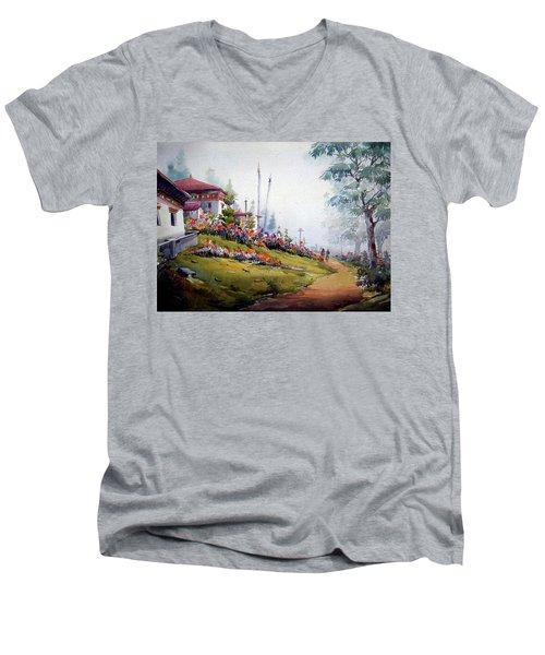 Men's V-Neck T-Shirt featuring the painting Foggy Mountain Village by Samiran Sarkar