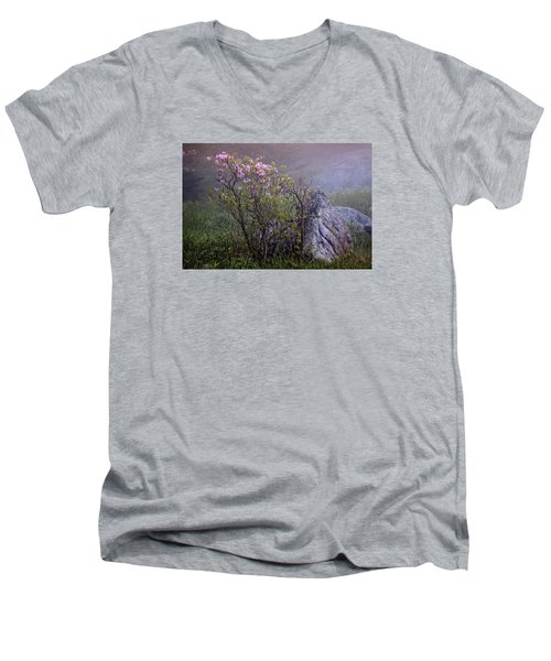 Foggy Pink Azalea Men's V-Neck T-Shirt