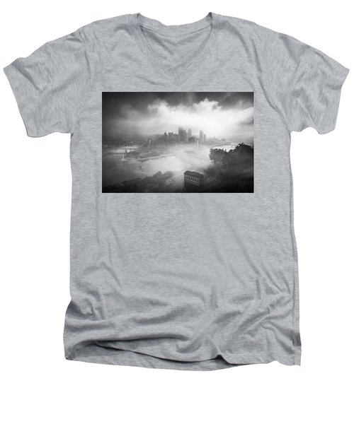 Men's V-Neck T-Shirt featuring the photograph Foggy Pittsburgh  by Emmanuel Panagiotakis