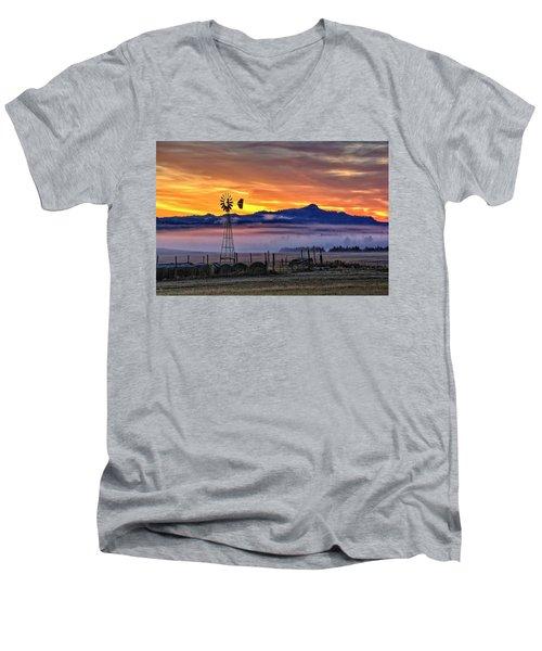 Foggy Spearfish Sunrise Men's V-Neck T-Shirt