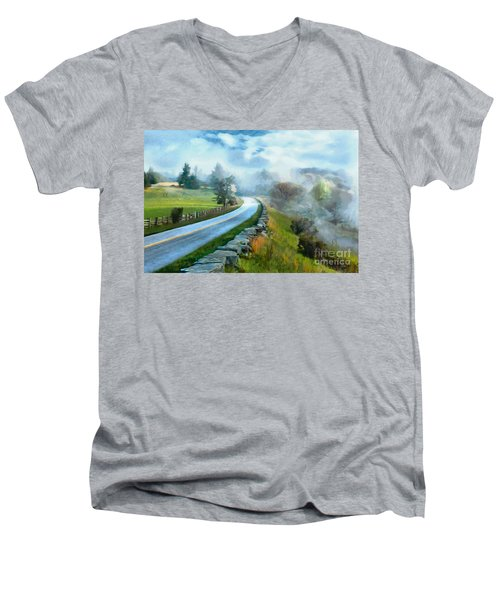 Foggy Spring Morning In Doughton Blue Ridge Parkway Ap Men's V-Neck T-Shirt
