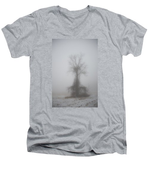 Men's V-Neck T-Shirt featuring the photograph Foggy Walnut by Wanda Krack
