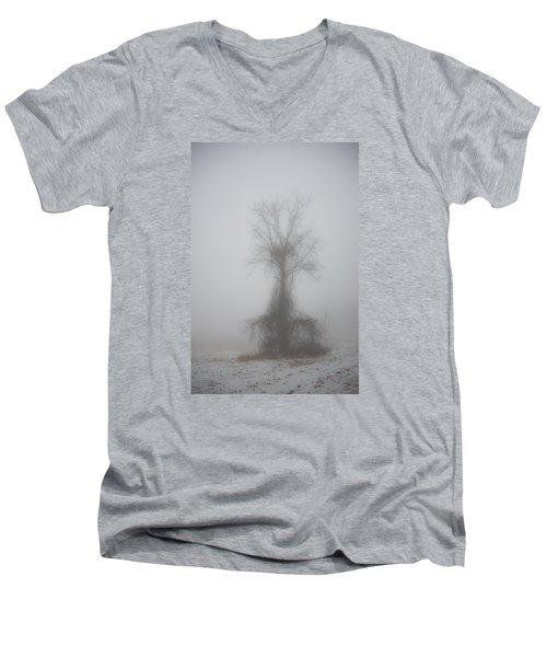 Men's V-Neck T-Shirt featuring the photograph Foggy Walnut by Wanda Krack