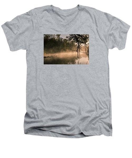 Men's V-Neck T-Shirt featuring the photograph Foggy Water by Annette Berglund
