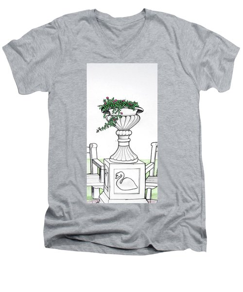 Men's V-Neck T-Shirt featuring the drawing Foliage Fountain by Mary Ellen Frazee