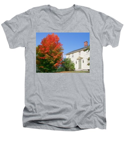 Men's V-Neck T-Shirt featuring the digital art Foliage Peak by Barbara S Nickerson