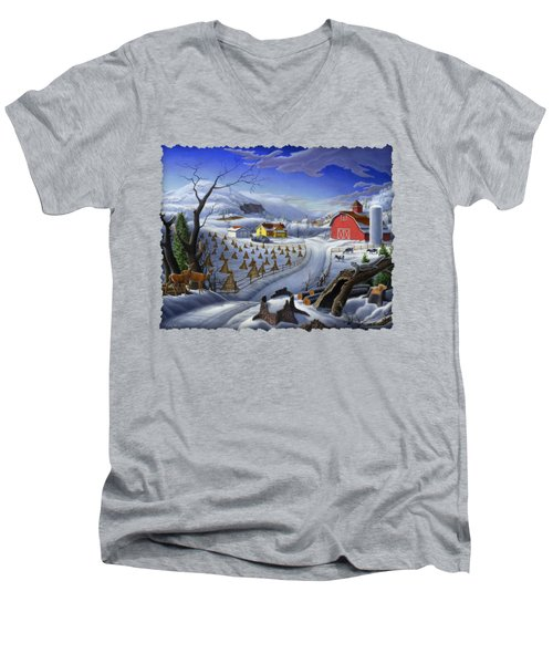 Folk Art Winter Landscape Men's V-Neck T-Shirt by Walt Curlee