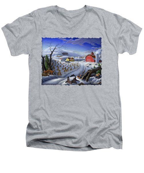 Folk Art Winter Landscape Men's V-Neck T-Shirt