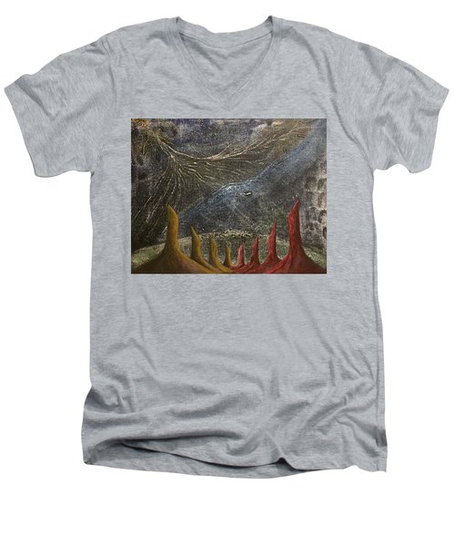 Men's V-Neck T-Shirt featuring the mixed media Follow by Steve  Hester