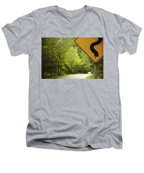 Men's V-Neck T-Shirt featuring the photograph Follow The Sign by Cendrine Marrouat