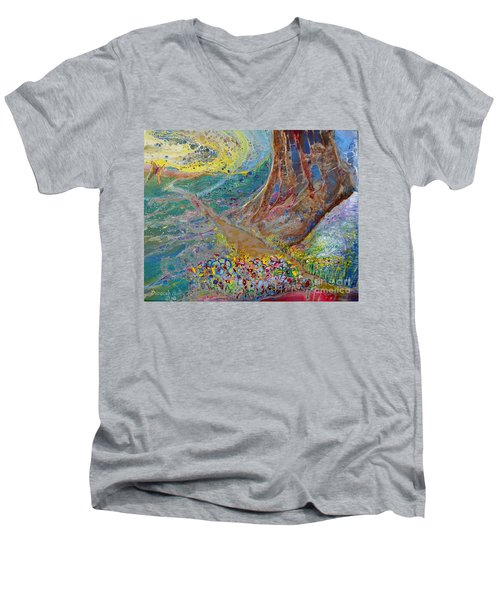 Men's V-Neck T-Shirt featuring the painting Follow Your Path by Deborah Nell