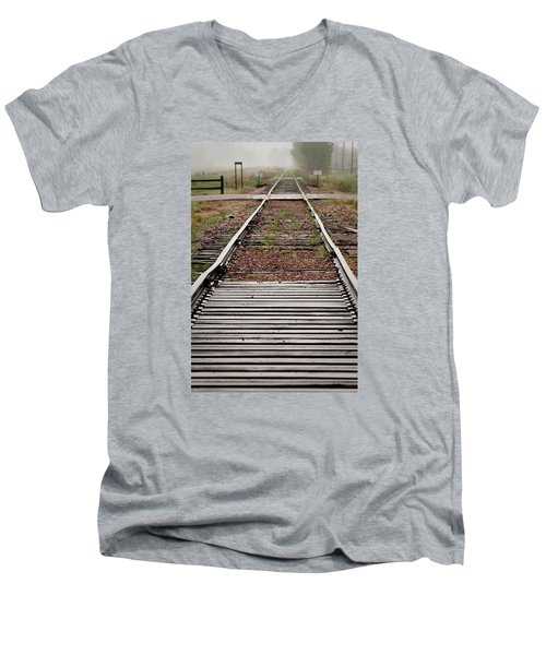Men's V-Neck T-Shirt featuring the photograph Following The Tracks by Monte Stevens