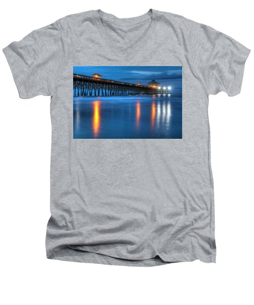 Folly Beach Pier At Blue Hour Charleston South Carolina Men's V-Neck T-Shirt