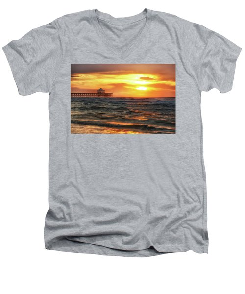 Men's V-Neck T-Shirt featuring the photograph Folly Beach Pier Sunrise by Donnie Whitaker