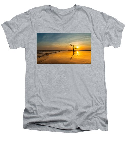 Men's V-Neck T-Shirt featuring the photograph Folly Beach Skeleton Tree At Sunset - Folly Beach Sc by Donnie Whitaker
