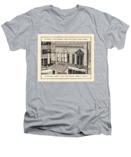 Men's V-Neck T-Shirt featuring the drawing Fongs Tea Garden by Chholing Taha