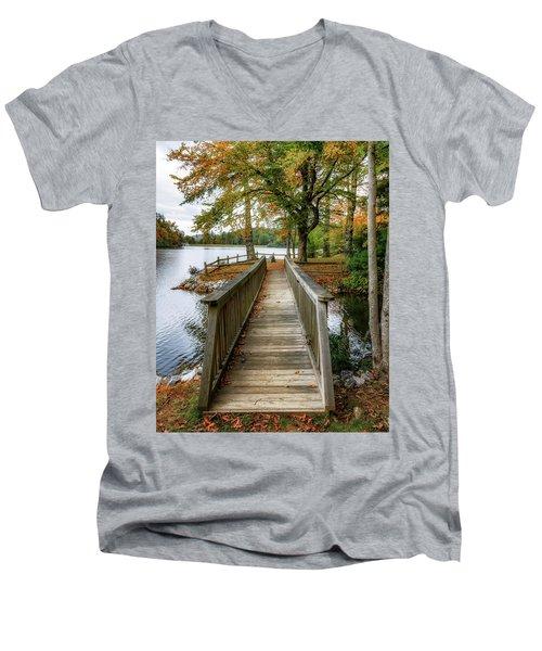 Foot Bridge At Linville Land Harbor Men's V-Neck T-Shirt