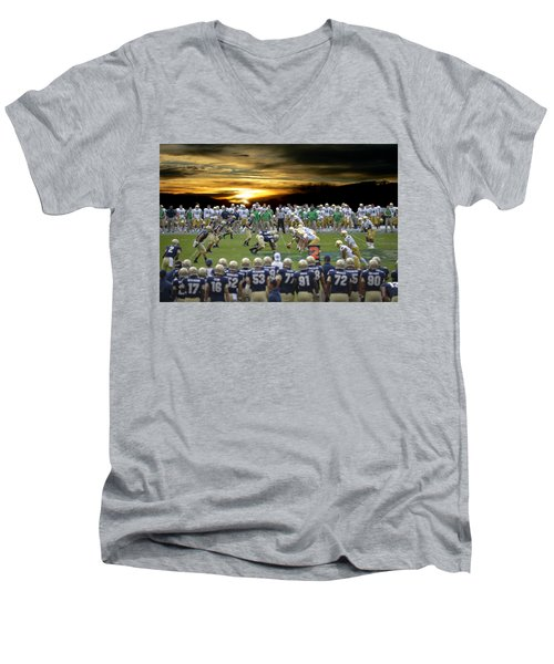 Football Field-notre Dame-navy Men's V-Neck T-Shirt