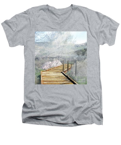 Footbridge In The Clouds Men's V-Neck T-Shirt by Deborah Nakano