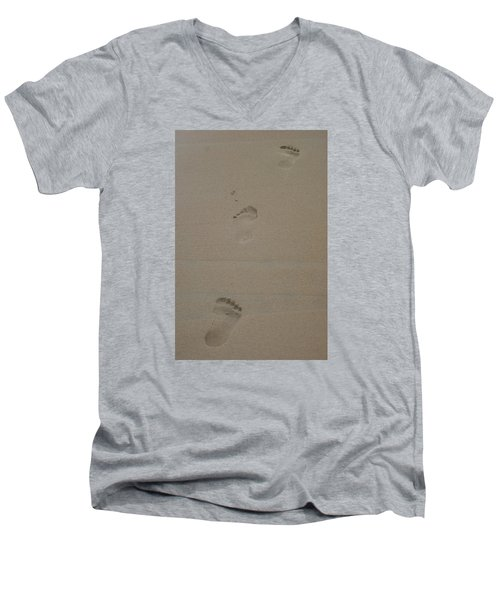 Men's V-Neck T-Shirt featuring the photograph Footprint by Heidi Poulin