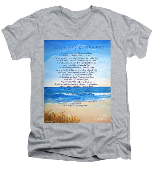 Men's V-Neck T-Shirt featuring the painting Footprints In The Sand by Shelia Kempf