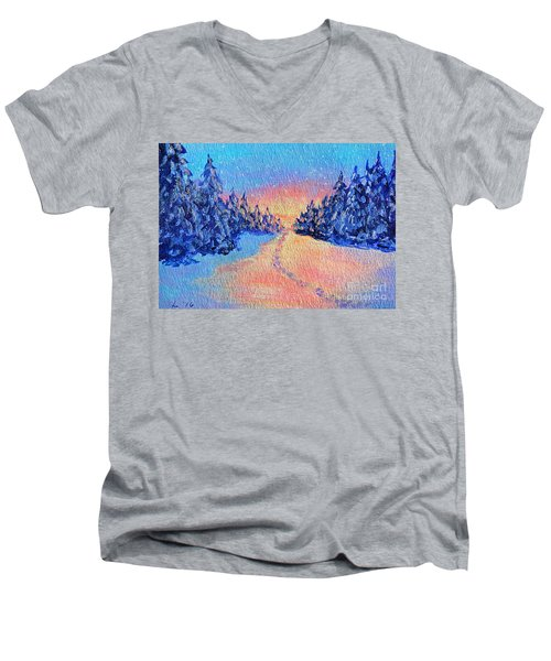 Footprints In The Snow Men's V-Neck T-Shirt by Li Newton