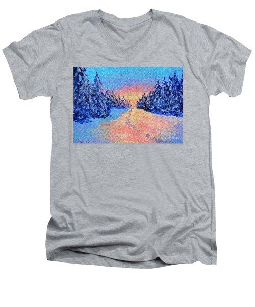 Footprints In The Snow Men's V-Neck T-Shirt