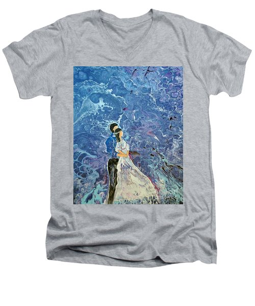 Men's V-Neck T-Shirt featuring the painting For Better Or For Worse by Deborah Nell