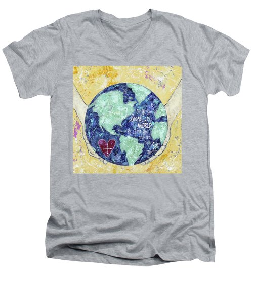 For He So Loved The World Men's V-Neck T-Shirt by Kirsten Reed