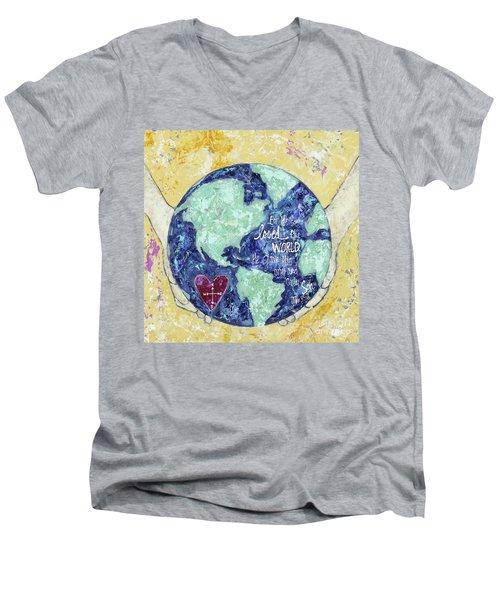 For He So Loved The World Men's V-Neck T-Shirt