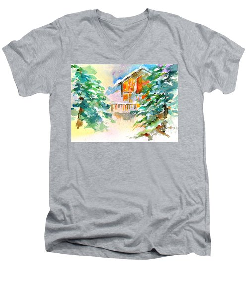 For Love Of Winter #3 Men's V-Neck T-Shirt by Betty M M Wong