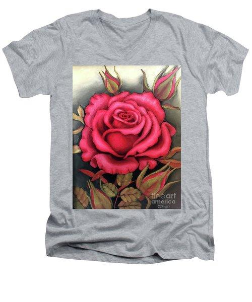 For You, The Red Rose Men's V-Neck T-Shirt
