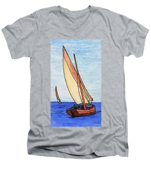 Force Of The Wind On The Sails Men's V-Neck T-Shirt by R Kyllo