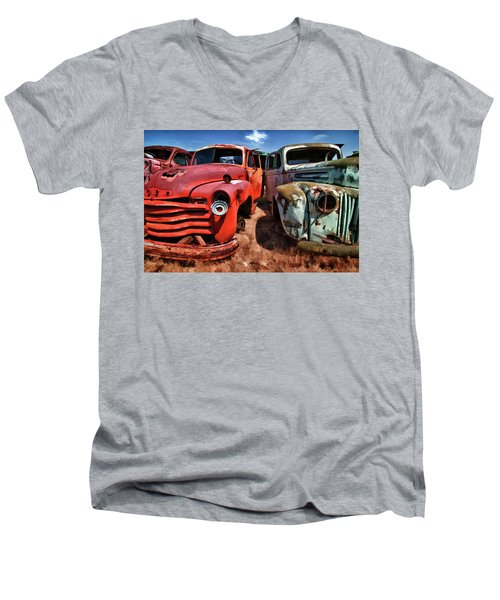 Ford And Chevy Standoff Men's V-Neck T-Shirt by Jeffrey Jensen