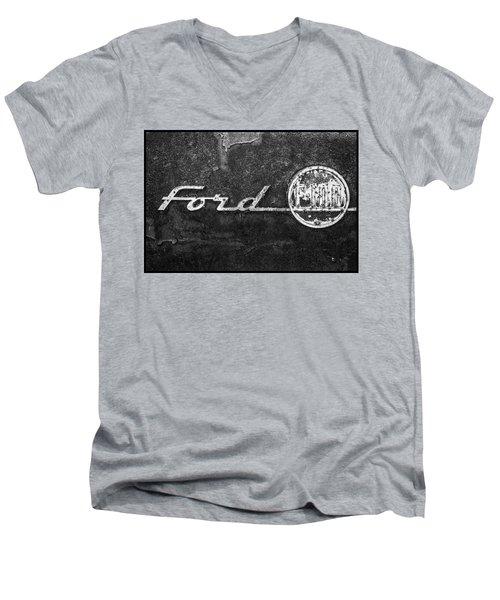 Ford F-100 Emblem On A Rusted Hood Men's V-Neck T-Shirt