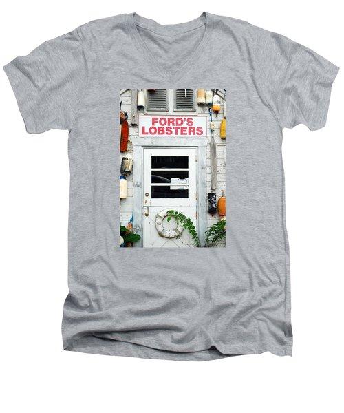 Fords Lobster Men's V-Neck T-Shirt by James Kirkikis