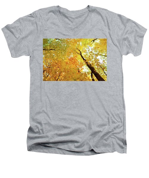 Forest Fall Yellow  Men's V-Neck T-Shirt by Lyle Crump